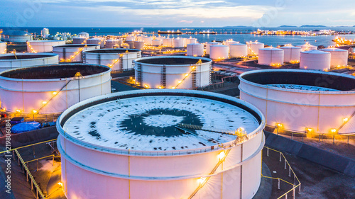 Fotografie, Obraz  Aerial view oil terminal is industrial facility for storage of oil and petrochemical products ready for transport to further storage facilities