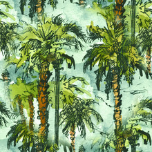 Seamless Patternwith Tropical Palm Trees.. Watercolor Splash With Hand Drawn Sketch Illustration. Retro Colorful