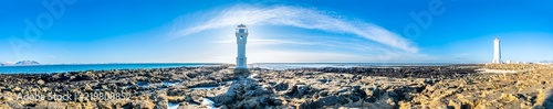 Panorama of two lighthouses at Akranes, Iceland