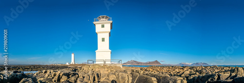 Panorama of old lighthouse at Akranes, Iceland