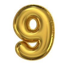 Golden Balloon Font 3d Rendering, Number 9