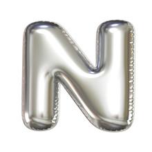 Silver Balloon Font 3d Rendering, Letter N