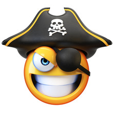 Pirate Emoji Isolated On White...