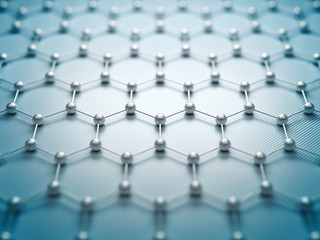 Graphene molecular grid, graphene atomic structure concept, hexagonal geometric form, nanotechnology background 3d rendering