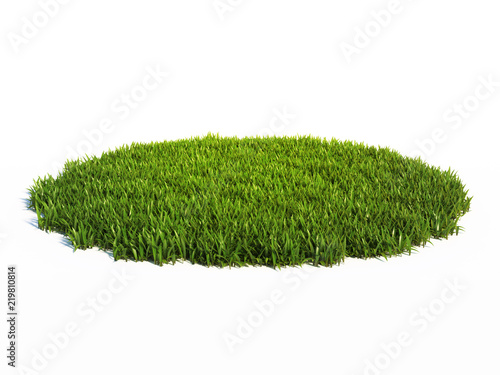 Small round surface covered with grass, grass podium, lawn background 3d rendering © koya979