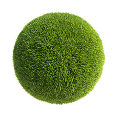 Spherichal shape covered with grass, grass ball 3d rendering