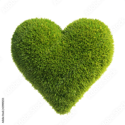 Grass heart shape, love green, heart shaped lawn 3d rendering © koya979
