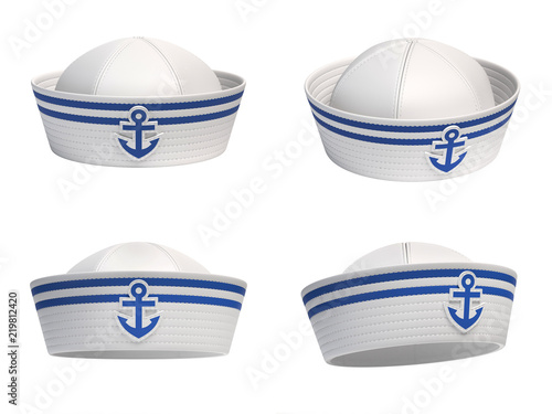 Canvas Print Sailor hat with blue anchor emblem from various views 3d rendering