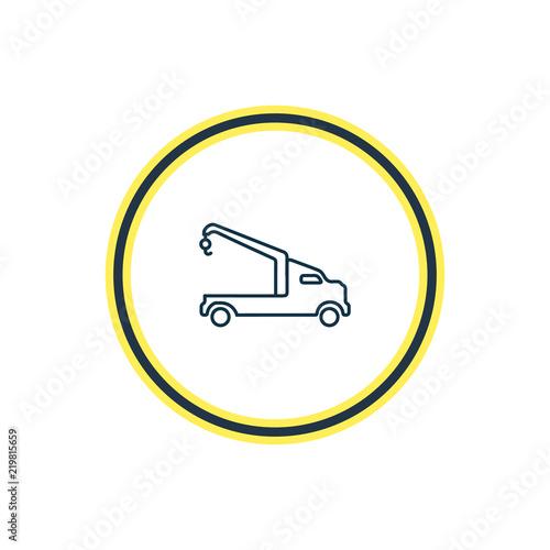 Vector Illustration Of Crane Truck Icon Line Beautiful