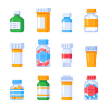 Flat Medicine Bottles. Vitamin Bottle With Prescription Label, Drug Pills Container Or Vitamins And Minerals Pill Isolated Vector Set