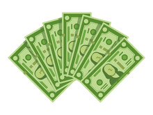 Money Banknotes Fan. Pile Of Dollars Cash, Green Dollar Bills Heap Or Monetary Currency Isolated Vector Illustration