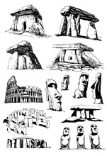 Graphical Set Of Megaliths,dolmens, Coliseum  Isolated On White Background,vector