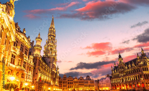 Spoed Foto op Canvas Brussel Brussels , Grand place in summer twilight ,Belgium