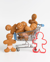 Gingerbread In A Shopping Cart, Going To A Store For Sweets