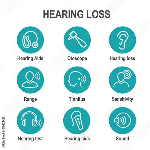 Fotografia, Obraz  Hearing Aid or loss with Sound Wave Images Set