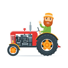 Cartoon Farmer On The Red Tractor. Agricultural Machinery. Vector Illustration