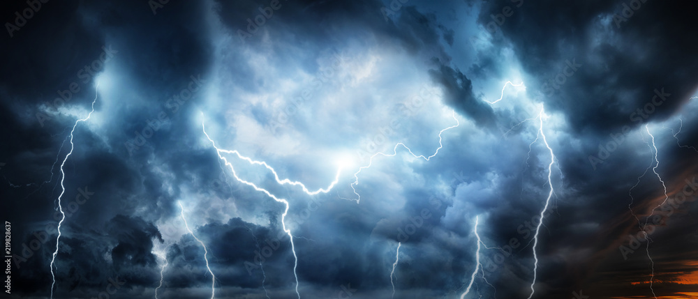Fototapeta Lightning thunderstorm flash over the night sky. Concept on topic weather, cataclysms (hurricane, Typhoon, tornado, storm)