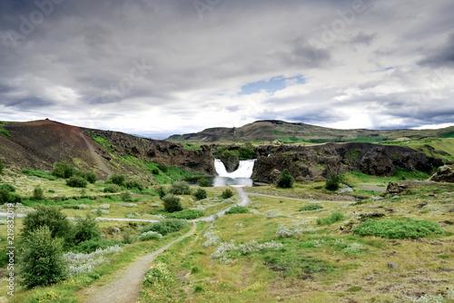 Foto op Canvas Pistache Beautiful little waterfall in Iceland