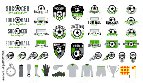 Fotografia, Obraz  Set of vector football (soccer) club logo and  icons