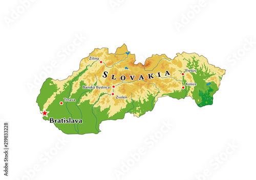 Cuadros en Lienzo slovakia physical map