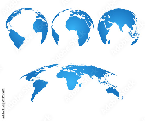 Earth Globe 3d World Map With Silhouette Continents And Oceans