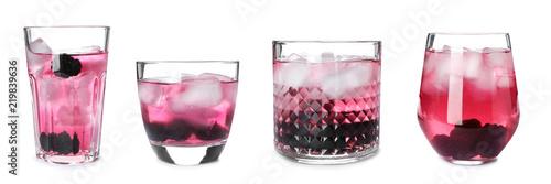 Set with blackberry lemonade on white background
