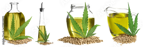 Set with hemp oil on white background. Healthy superfood