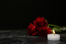 Beautiful Red Roses And Candle...