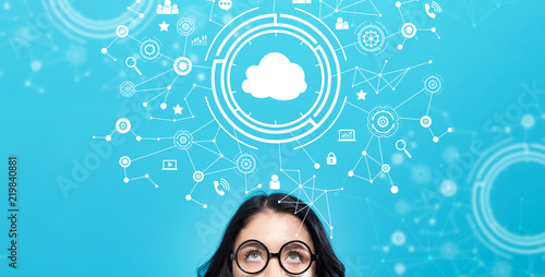 Cloud computing with young woman on a blue background