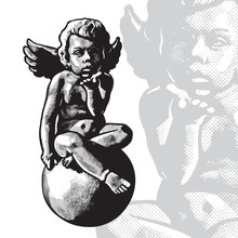 Angel Child Sitting On Sphere, Cute Cupid Boy. Vector Black And White Monochrome Graphic Illustration In Vintage Engraving Style.