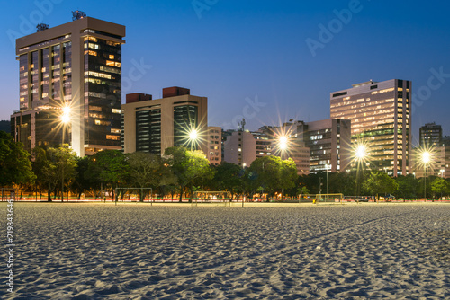Business Buildings in Front of the Botafogo Beach in Rio de Janeiro at Dusk