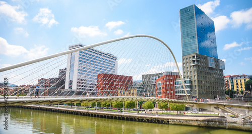 Fotografie, Obraz  Colorful and modern Bilbao Bridge, Basque Country, Spain.
