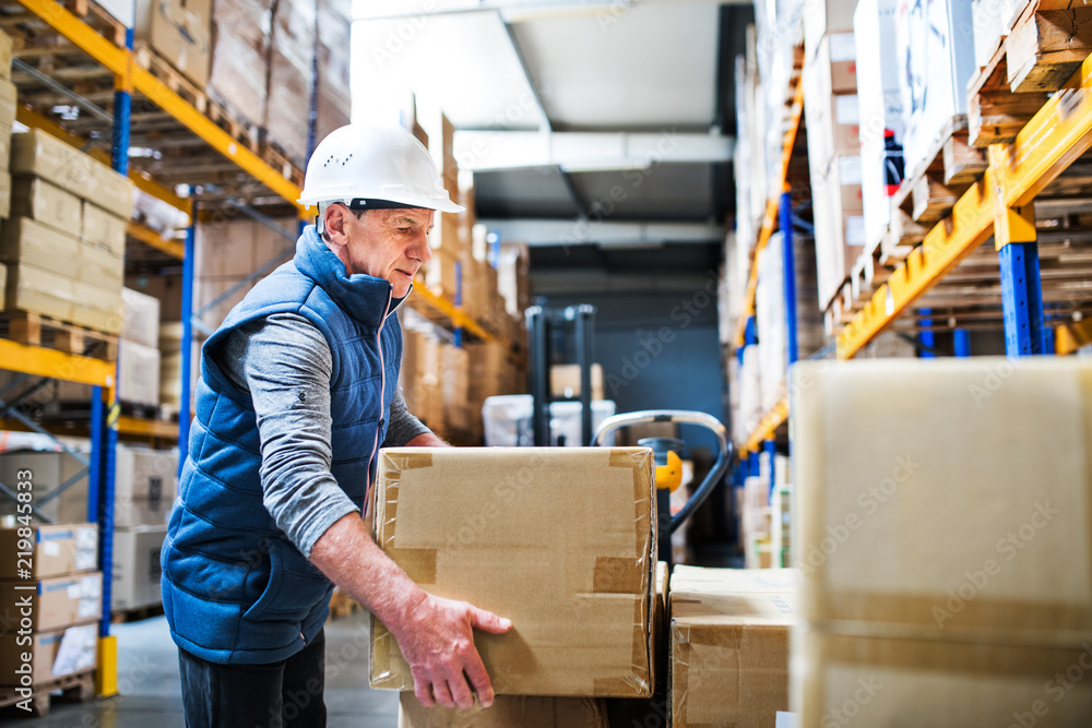 Fototapeta Senior male warehouse worker unloading boxes from a pallet truck.