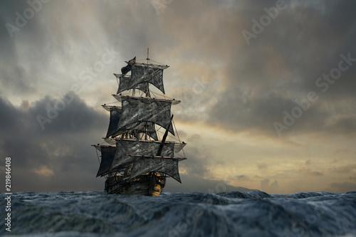 Cuadros en Lienzo pirate ship sailing on the sea, 3D render