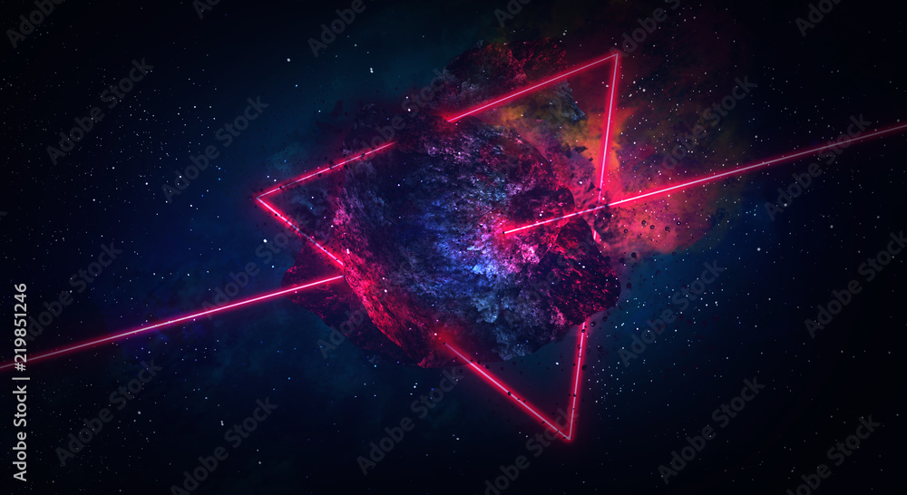 Fototapety, obrazy: Space abstract background, burning comet, flash, laser through the stone, bright colors