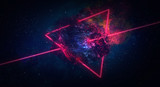 Space abstract background, burning comet, flash, laser through the stone, bright colors