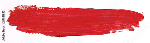Fototapety, obrazy: Red brush stroke isolated over white background