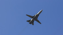 Fighter Flies Against The Blue Sky, Military Aircraft