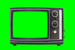 canvas print picture - Small Vintage Portable Television with Chroma Green Screen and Background