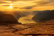 canvas print picture - Sonnenaufgang vom Preikestolen