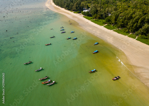 Aerial drone view of colorful traditional Longtail boats at