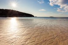 Sand Beach At Acadia National Park, Mount Desert Island, Maine, USA