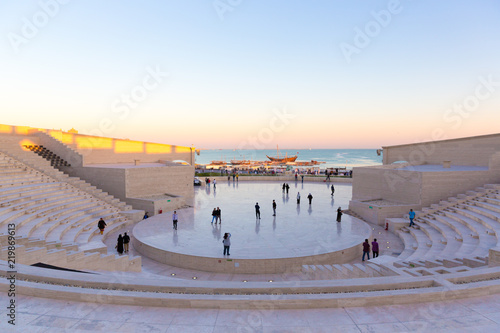 Doha, Qatar - Jan 9th 2018 - Locals and residents enjoying a open area in a late afternoon in Doha, Catar