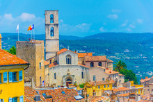 Aerial View Of Grasse Dominated By The Cathedral And Town Hall, France