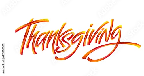 Fotografie, Obraz  Lettering Thanksgiving Paint Texture Hand Drawn Illustration Isolated on White Background