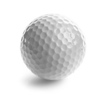 Close Up Of Golf Ball, Isolated On White Background