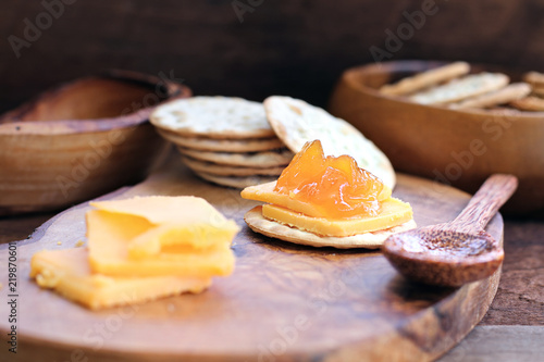 Fotografie, Obraz  Cantaloupe Jam with Crackers and Cheese