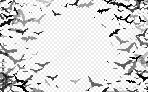 Billede på lærred Black silhouette of bats isolated on transparent background
