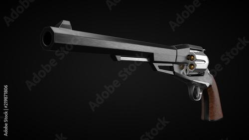 Vászonkép long barrel revolver design with modern looking hard cut edges