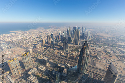 Fotografie, Obraz Aerial view of Downtown Dubai from the tallest building in the world, Burj Khalifa, Dubai, United Arab Emirates